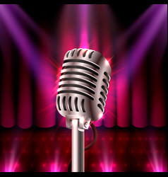 musical show microphone on red scene vector image