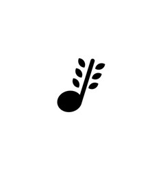 Nature and leaf music logo design template vector