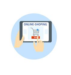 Online shopping hands hold a tablet a gadget vector