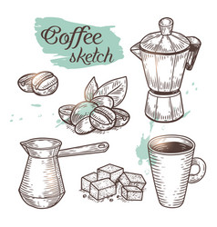 outline coffee elements isolated on background vector image