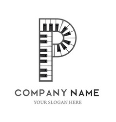 p letter logo design piano keyboard logo vector image
