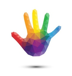 rainbow triangle hand print vector image