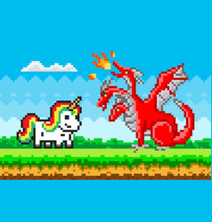 Rainbow unicorn and red three-headed dragon pixel vector
