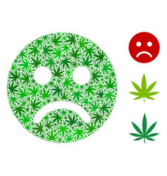 Sad mood smiley composition of cannabis vector