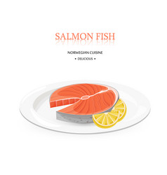 salmon fish white plate isolated vector image