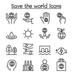 Save the world icon set in thin line style vector