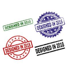 scratched textured designed in 2018 stamp seals vector image