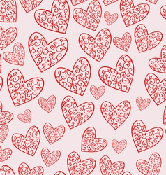 Seamless soft pink pattern with hearts vector