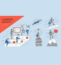 set growth career business and success concept vector image