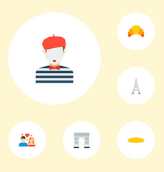set of france icons flat style symbols with vector image