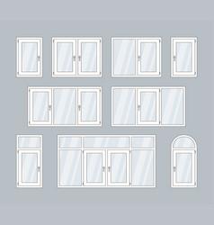 Set of white plastic windows vector