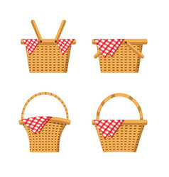 Set wood basket with tablecloth decoration vector