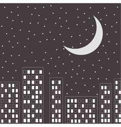 Silhouette of the night city Stars and halfmoon vector image