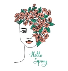 Spring hand drawn girl with flower hair vector