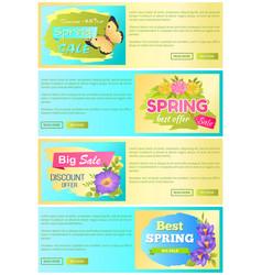 Spring sale discount offer set vector