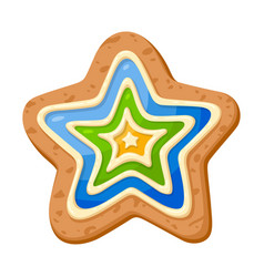 Star cookie icon holiday sweet decoration for vector