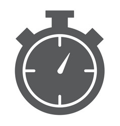 stopwatch glyph icon time and measure timer sign vector image