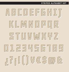 striped alphabet set vector image