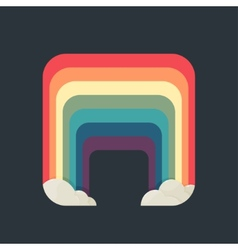 Stylized square rainbow with clouds on a dark vector image