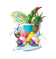 summer pool party tropical leaf sunglasses vector image