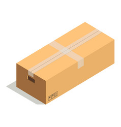 Taped cardboard box with handles and precaution vector