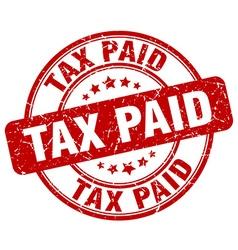 Tax paid red grunge round vintage rubber stamp vector