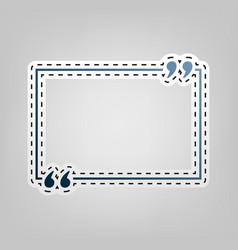 text quote sign blue icon with outline vector image