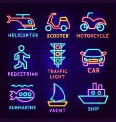 transport neon label set vector image