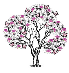 Tree with butterflies and flowers black and pink vector