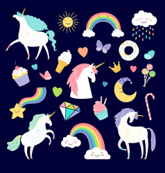 unicorn and girlish elements rainbow brilliant vector image