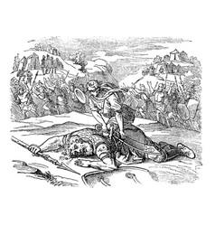 Vintage drawing biblical story david vector