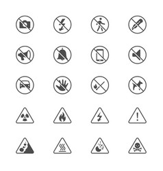 Warning sign flat icons vector