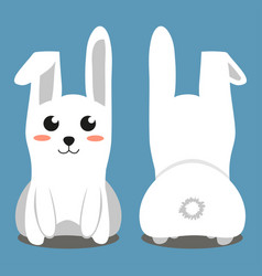 White sitting rabbit colorful poster vector