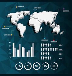 World map infographic demographic report data vector