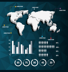 World map infographic demographic report data with vector
