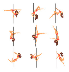 Young pole dance women set beautiful pole dancers vector