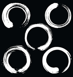 Zen circle brush set black enso vector