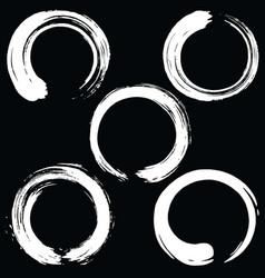 zen circle brush set black enso vector image