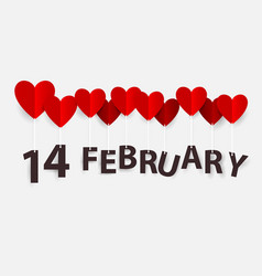 14 february hanging with red heart balloons happy vector image vector image