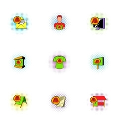 Advertise icons set pop-art style vector image vector image