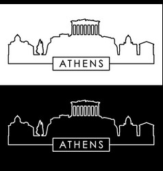 athens skyline linear style editable file vector image
