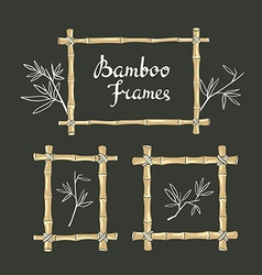 Bamboo frames with leaves on the chalkboard vector image vector image