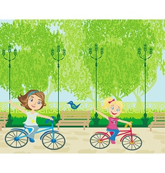 children biking in the park vector image vector image