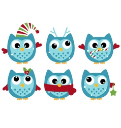 Cute winter owl collection isolated on white vector image vector image