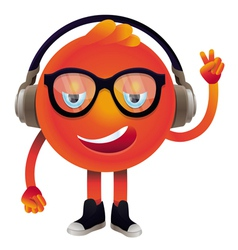 Funny monster with headphones and glasses vector