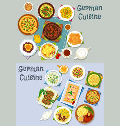 german cuisine lunch icon set with meat dishes vector image
