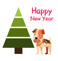 happy new year poster with spruce tree and dog vector image vector image