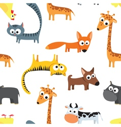 Seamless background pattern with animals vector image