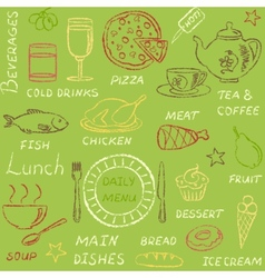 Seamless pattern with doodle menu elements vector image vector image