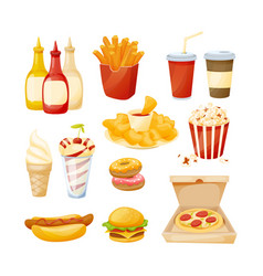 set of delicious food sauces drinks fast food vector image vector image